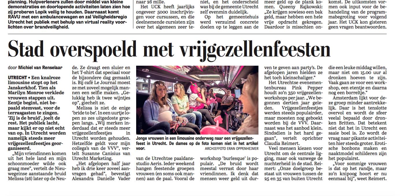 Artikel workshop paaldansen De Telegraaf